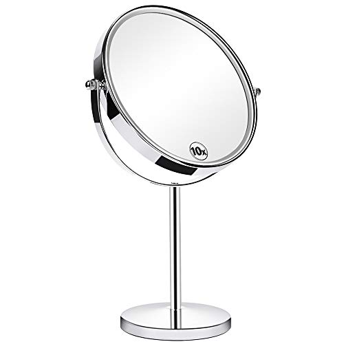 Orange Tech 8-Inch Large Double Sided 1X/10X Makeup Mirror, 360 Degree Swivel Magnifying Vanity Mirror, Travel Mirror with Stand and Removable Base, 15 inch Height ()