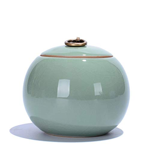 - Ceramic Tea Caddy Delicate Crackle Glaze Celadon Porcelain Tea Canister Tea Accessory Gift for Tea Lover