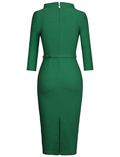 MUXXN Women's 1950s Vintage 3/4 Sleeve Elegant Collar Cocktail Evening Dress (L, Green)