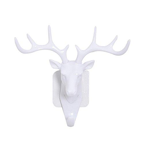Colorido Fashion Deer Head Antlers Self Adhesive Hook Keys Hat Holder Wall Door Hanger size Medium (White) by Colorido (Image #2)