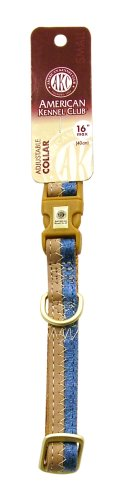 AKC 5/8-Inch by 10-16-Inch Collar Adjustable Toy, Blue/Camel, Small