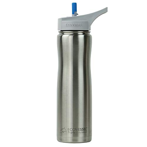 EcoVessel Summit TriMax Vacuum Insulated Stainless Steel Water Bottle with Flip Straw Top - 24 Ounce - Silver Express
