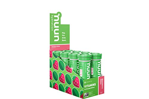 (Nuun Hydration: Vitamin + Electrolyte Drink Tablets, Strawberry Melon, Box of 8 Tubes (96 servings), Enhanced for Energy and Daily Health)