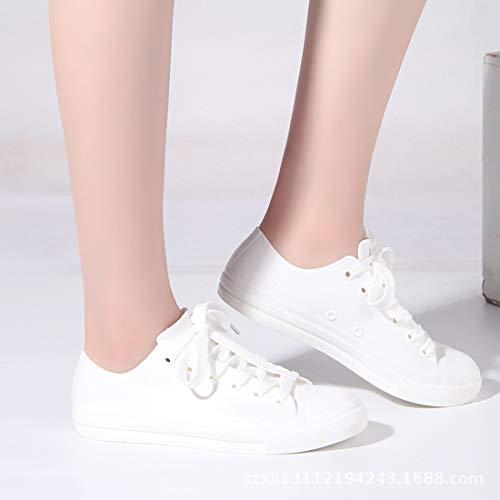 e Sole Dì da di Pioggia Impermeabile brutte Collo Giornata Basso Stivali Sneakers Copriscarpe Scarpe alle Casuali di Pioggia Bianco PVC Donna Giornate Adatto da Addio a fqHxwRa