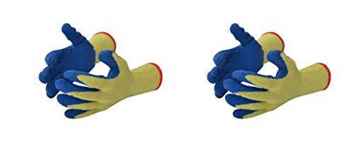 Klaxon Safety Cotton yellow shell with blue crinkle latex plam coating cut resistant Hand Gloves (2 Pair)