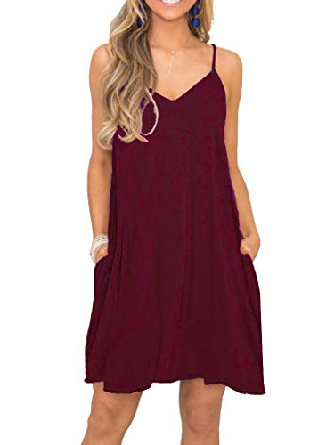 (MISFAY Women's Summer Casual Loose T Shirt Dresses Beach Cover up Plain Tank Dress with Pockets (XL, Wine Red))