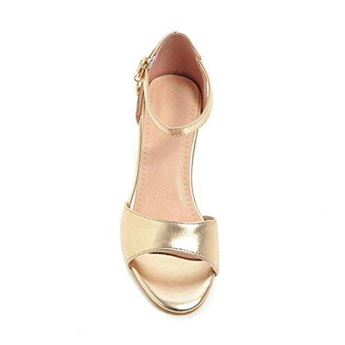 Sandalias Alto Grandes Grueso los Código ranurado Mujer con Zapatos Sandalia Tacón Mujer de Pulsera Zapatos Señoras Satinado Sandalias Mujer de con para Golden ppZrwxqU