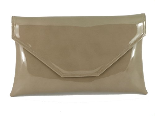 Bag Patent Stylish Dark Envelope Prom Large Party Bag Clutch Beige Bag Taupe Shoulder Loni Wedding Womens 4YR5wxI