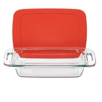 Pyrex Easy Grab 3 Qt. Oblong Baking Dish with Plastic Cover Color: Red