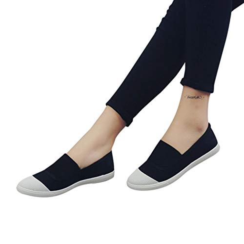 Flat With1~3cm Daily Comfortable Canvas Chaussure Heel Mobast And Femme Cover Surface Breathable Fashion Noir Solid Round Casual Basket Bateau Toe z8qFw1