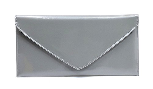 Elphis Patent Vegan Envelope Clutch Handbag Shinny PU Evening Bag (Silver) by Elphis