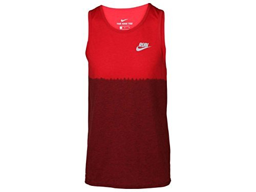 Nike Men's Dri- Fit Dip Tie Dye Running Tank Top-Red Ombre 922174 657 (m) (Dip Hem Top)