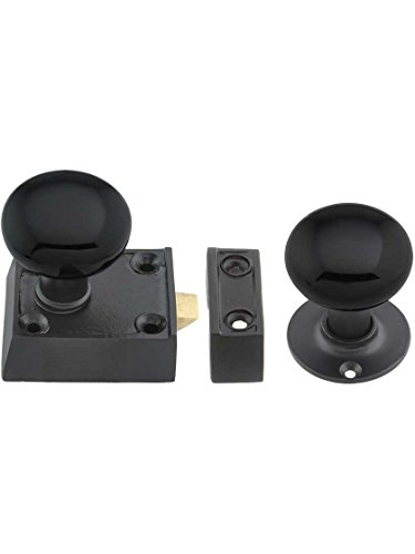 - House of Antique Hardware R-01HH-0160023-BLK-MB Small Cast Iron Rim Latch Set with Black Porcelain Knobs in Matte Black