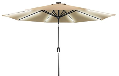 Cheap 9′ Deluxe Solar Powered LED Strip Lighted Patio Umbrella By Trademark Innovations (Tan)