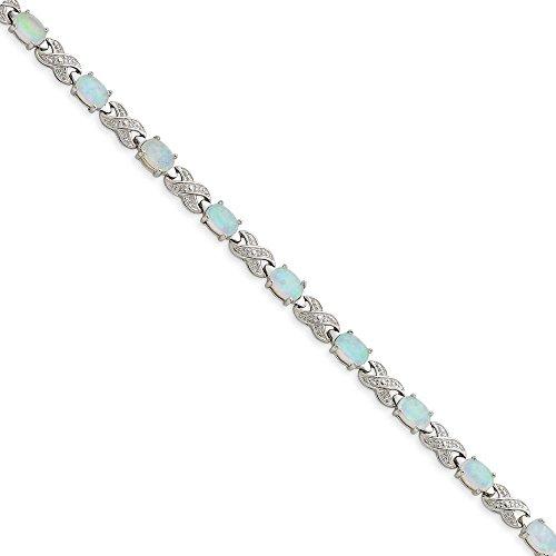 Argent Sterling a créé Opal et rugueuses et Bracelet-Diamant - 7 mm-Fermoir JewelryWeb