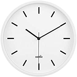 Yoobure 10 Silent Quartz Decorative Digital Wall Clock, Clear to Read with Large Number Battery Operated Home Office School Clock, Elegant Design, Non-Ticking White Scale