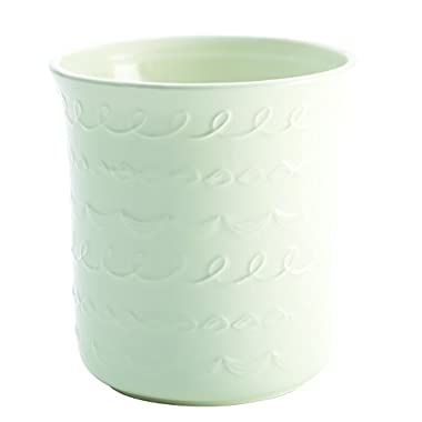 Cake Boss Countertop Accessories Stoneware Tool Crock,  Icing  Pattern, White