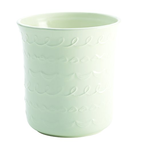 "Cake Boss Countertop Accessories Stoneware Tool Crock, ""Icing"" Pattern, White"