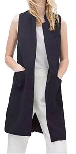 Femmes Gilets sans manches Slim Fit Blazer Vest Gilet cardigan long Gilet Manteau Veste Noir