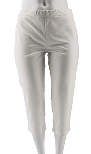 Dennis Basso Double Weave Pull-On Capri Pants White 24W New A307220