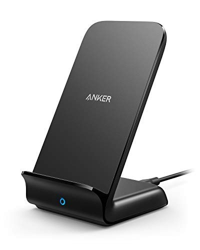 Anker PowerWave Fast Wireless Charger Stand, Qi-Certified, 7.5W Compatible iPhone XR/XS Max/XS/X/8/8 Plus, 10W Charges Galaxy S9/S9+/S8/S8+/Note 8, and 5W Charges All Qi-Enabled Phones (No AC Adapter)