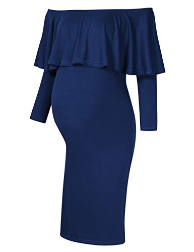 Coolmee Women's Maternity Dress 3/4 Sleeve Off Shoulder Casual Maxi Dress (L, Navy-Long)