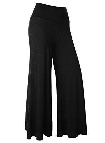 BAISHENGGT Damen Lange Stretch Lagenlook Hose im Marlene-Stil Schwarz M