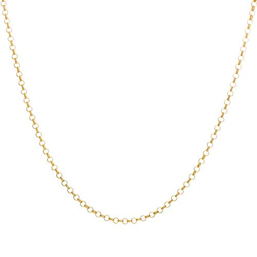 (10K Yellow Gold 2.5MM Round Rolo Link Chain Necklace -Unisex Sizes Available-Made in Italy (20) )
