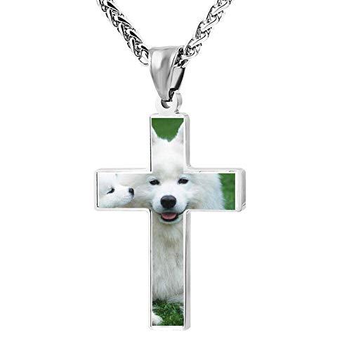 (Cross Religious Jewelry Samoyed Pendant Necklace Patriotic Cartoon Lord's Zinc)