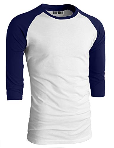 - OLLIE ARNES Men's Basic Crewneck 3/4 Sleeve Cotton T-Shirt Raglan Baseball Top Single_WHTNAV M