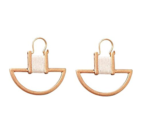 KC gold Semi-circular winding line earrings with The Simple Personality Style by HIYOU-Home (Golden circle) - Simple Semi Circle