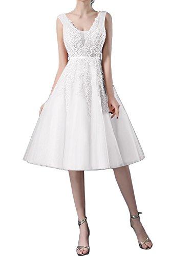 Spitze Tuell Ballkleider Damen Abendkleider Ivydressing Kurz Brautjungfernkleid Traumhaft Weiß wRfPqE7X