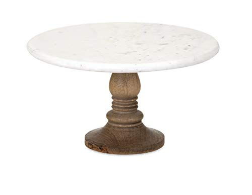 (IMAX 82504 Lissa Marble Cake Stand in White - Handcrafted Cake Pedestal, Marble and Mango Wood Display Table for Presenting Cakes, Pastries, Desserts. Cake Stands)
