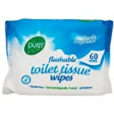 Pure Flushable Toilet Tissue 60 Wipes (3 pack)