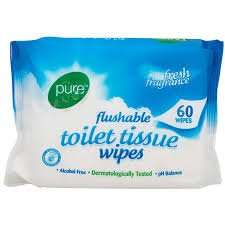 Pure Flushable Toilet Tissue 60 Wipes (3 pack) by Pure Flushable