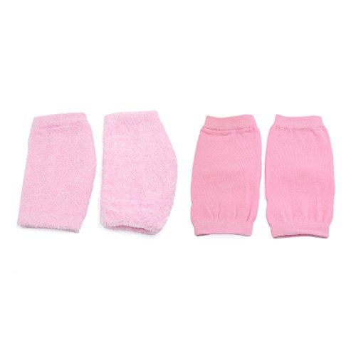 2 Pairs Soften Dry Cracked Skin Moisturizing Exfoliating Elbow Gel Cover Sleeves Pink by uxcell