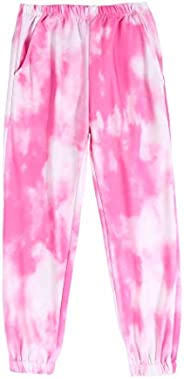 Arshiner Kids Girls Tie Dye Joggers Comfort Loose Sweatpants High Waist Trouser