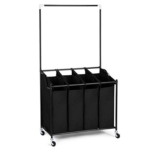 HOMEIDEAS Laundry Sorter 4-Bag Rolling Laundry Sorter Cart 4 Section with Hanging Bar & on Heavy-Duty Wheels, Black