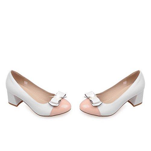 Amoonyfashion Donna In Vernice Pelle Tacco Vertiginoso Con Cinturino-tacco A Spillo Scarpe-scarpe Bianche