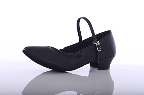 ShangYi Square ladies modern dance shoes women's ballroom dance shoes GB dancing shoes adult soft square dance shoes, with height 3.5cm Black