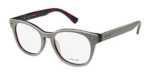 Police V1739 Mens/Womens Designer Full-rim Spring Hinges Eyeglasses/Spectacles (49-18-140, Ivory / - Police Frames Spectacles