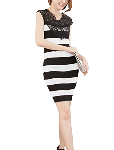 Stripes Panel Dress Neck Allegra Women Bodycon White K Black Slipover Scalloped Lace wxwC7Ip