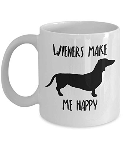- Dachshund Mug - Wieners Make Me Happy - Funny Novelty Coffee Cup For Doxie Lovers and Owners - Best Cute Christmas & Birthday Gag Gift For Pet Daschund Moms And Weiner Dog Dads