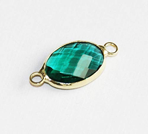 2 pcs of Glass Faceted Oval with Brass Setting 21x10mm Sea Green, Glass Connector 1/1 Loop Gold Tone