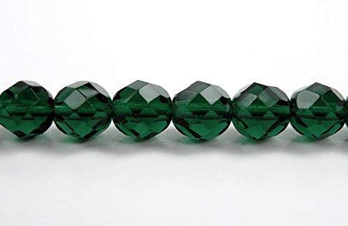 10mm (41 Beads) Medium Emerald, Czech Fire Polished Round Faceted Glass Beads, 16 inch Strand