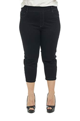 Suko Jeans Women's Denim Capri Pants Plus Size 17412 Jet Black 18