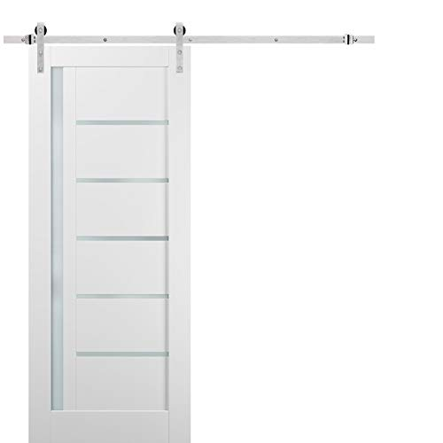 Sliding Barn Door 42 x 96 with Stainless Steel 8ft Hardware | Quadro 4088 White Silk with Frosted Opaque Glass | Top…