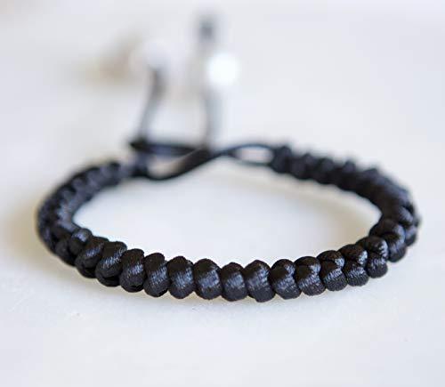 Black Cord Grey Pearl Adjustable (Romance Pearl Bracelet)