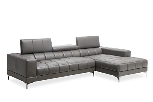HOMES: Inside + Out IDF-6669GY-SEC Gray Romille Modern Tufted Sectional