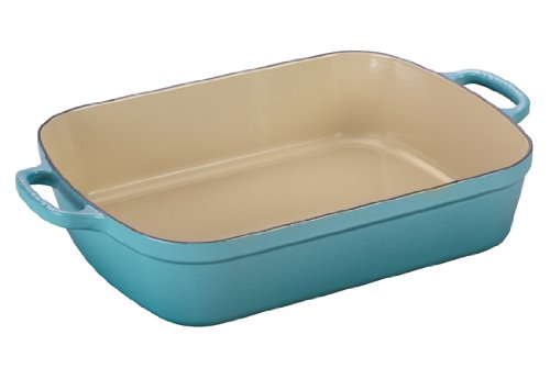 Le Creuset Signature Cast Iron Rectangular Roaster, 7.0-Quart, Caribbean